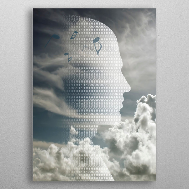 Profile of binary code with music note metal poster