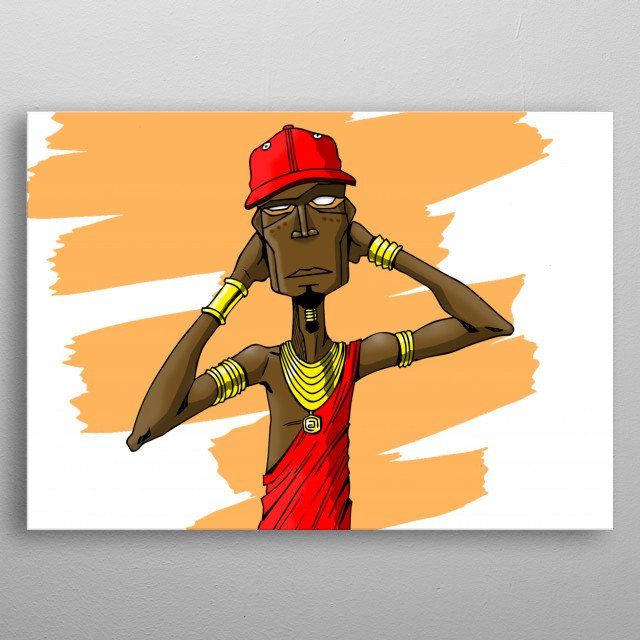 Illustration inspired by the depiction of an african warrior dripping loads of swag! metal poster