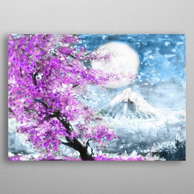 oil painting landscape with sakura and mountain, hand drawn illustration, Japan metal poster