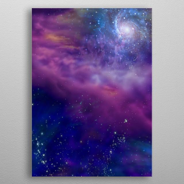 Galaxy in vivid Space. Frontier metal poster
