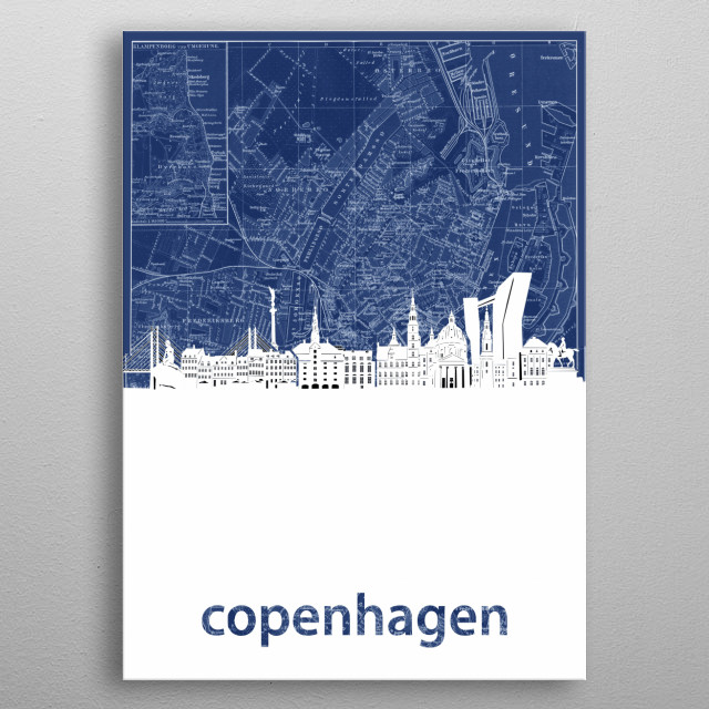 Copenhagen skyline inspired by decorative,blueprint,cartography,pop art design metal poster