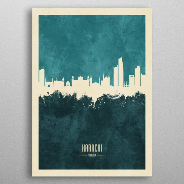Watercolor art print of the skyline of Karachi, Pakistan metal poster