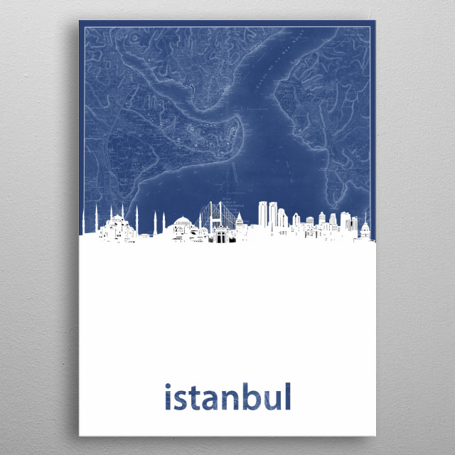 Istanbul skyline inspired by decorative,blueprint,cartography,pop art design metal poster