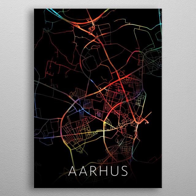 Aarhus Denmark City Street Map Watercolor Dark Mode metal poster