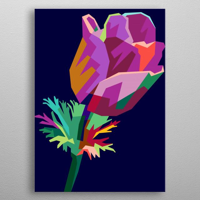 Colorful Flower Design Illustration WPAP Style metal poster