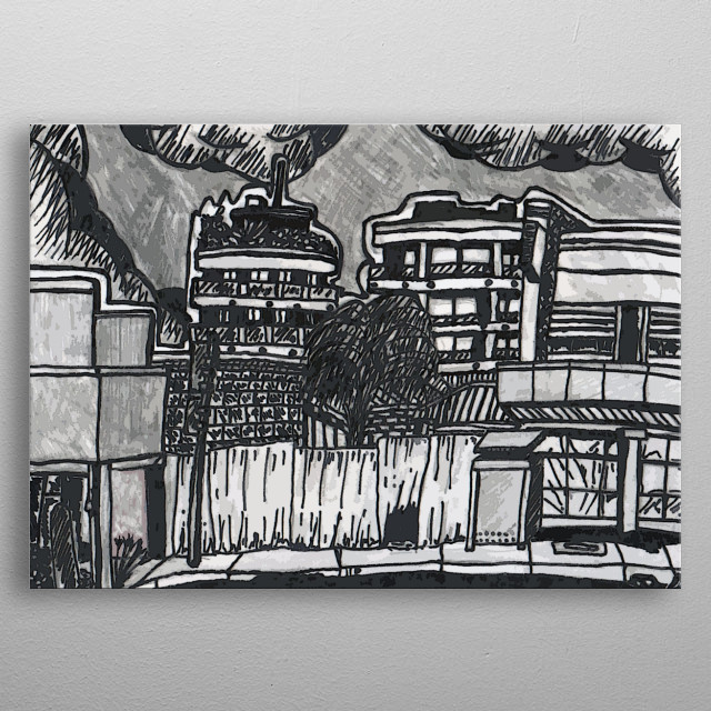 illustration of the main street of nundah from the  bus stop. metal poster