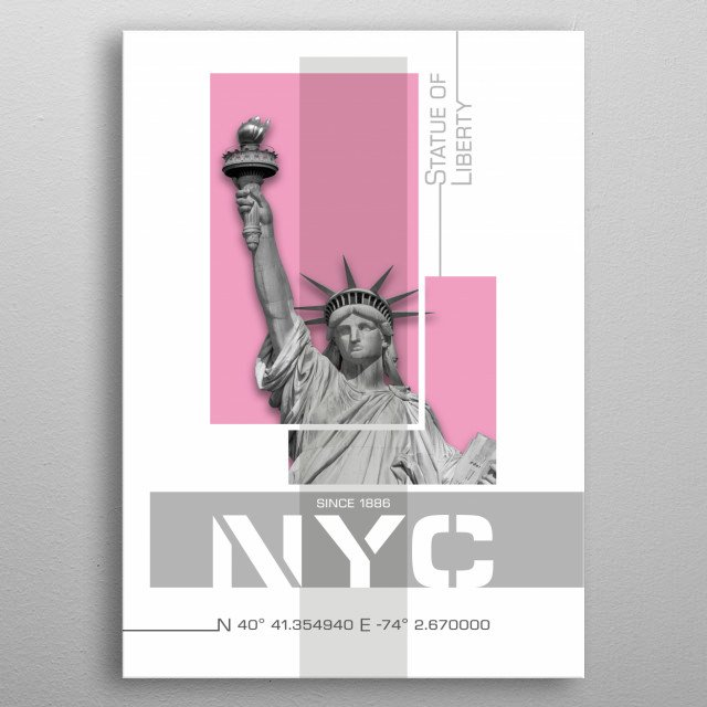 Cityscape from New York City in a modern design. Coordinates and information fuse with Statue of Liberty creating a minimalist impression. metal poster
