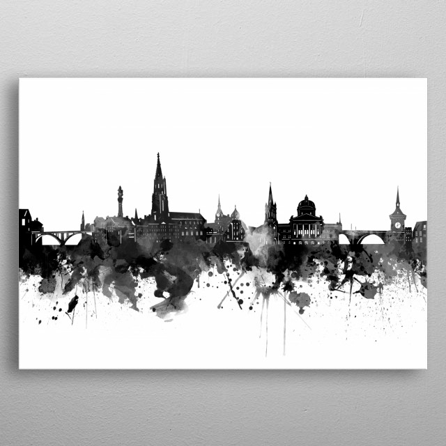 Bern skyline inspired by decorative,watercolor,black and white,pop art design metal poster