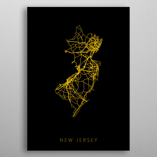 Map of New Jersey created by roads and highways. metal poster