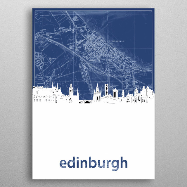 Edinburgh skyline inspired by decorative,blueprint,cartography,pop art design metal poster