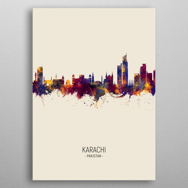Watercolor art print of the skyline of Karachi, Pakistan metal poster