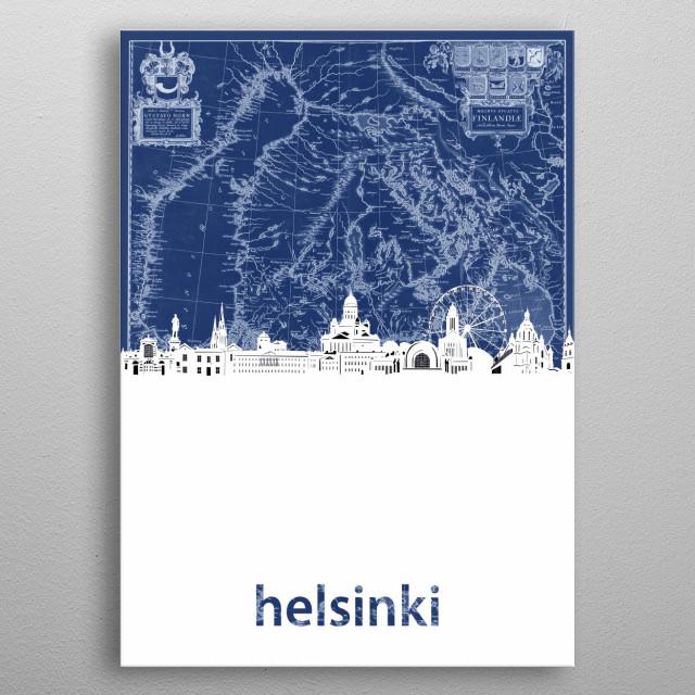 Helsinki skyline inspired by decorative,blueprint,cartography,pop art design metal poster