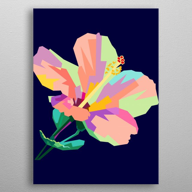 Colorful Flower Design Illustration WPAP Style metal poster