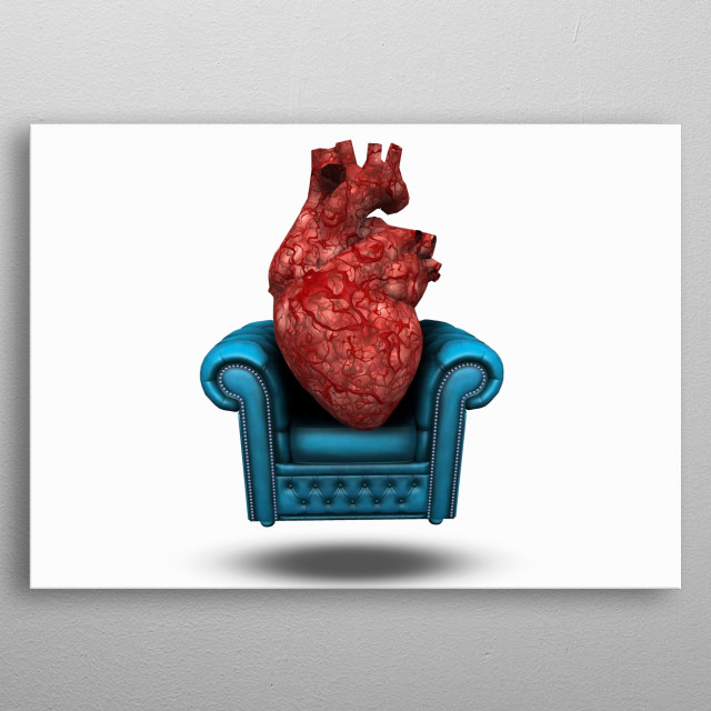 Heart on comfortable chair metal poster