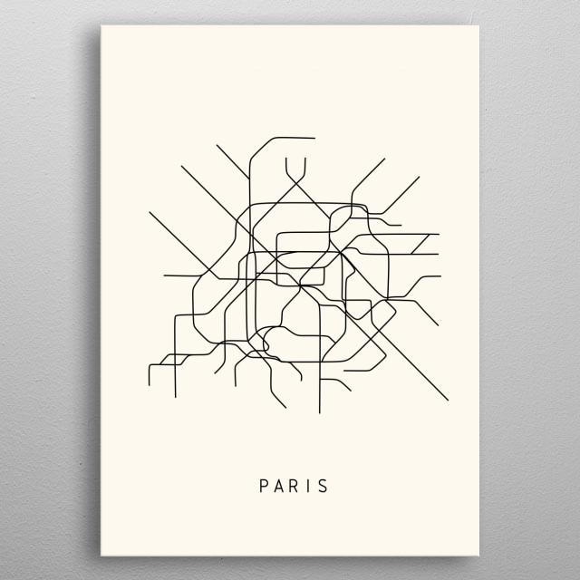 Illustration of Paris subway metal poster