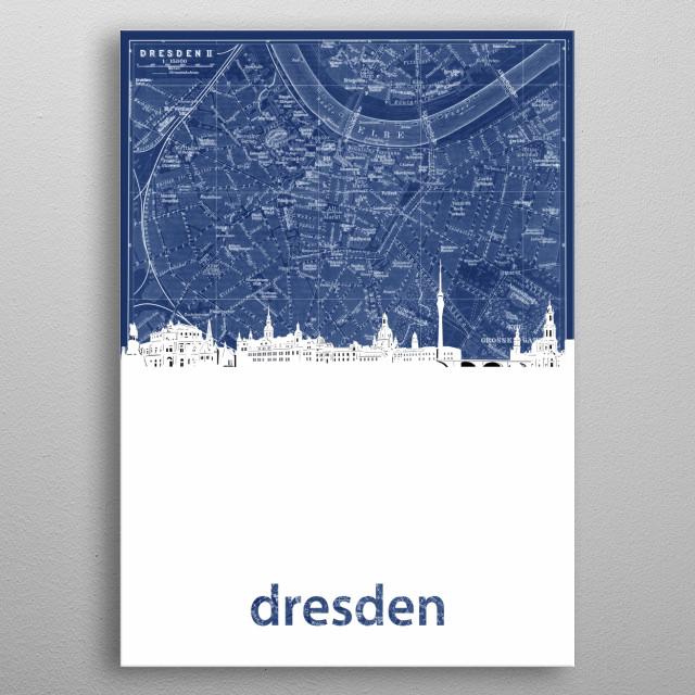 Dresden skyline inspired by decorative,blueprint,cartography,pop art design metal poster