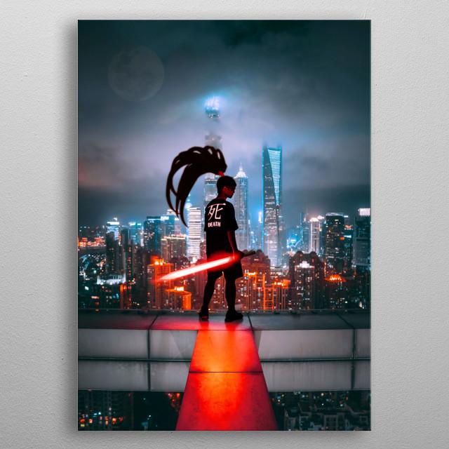 Cyberpunk era hero samurai called Death Kai. metal poster