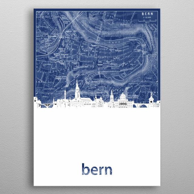 Bern skyline inspired by decorative,blueprint,cartography,pop art design metal poster
