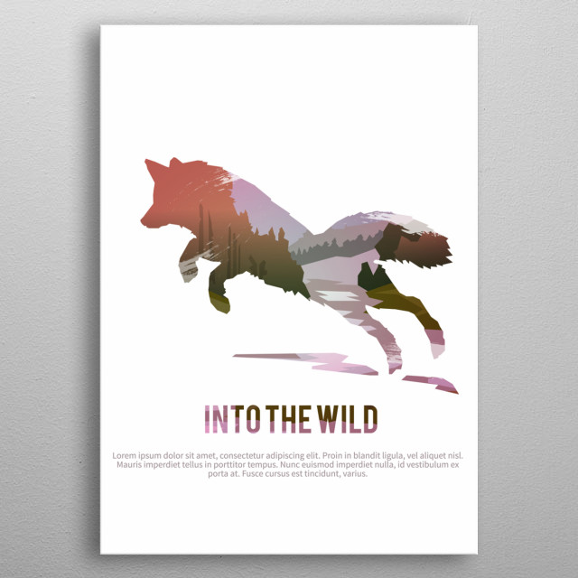 Vector poster on themes: wild animals of Canada, survival in the wild, hunting, camping, trip. Fox.  metal poster