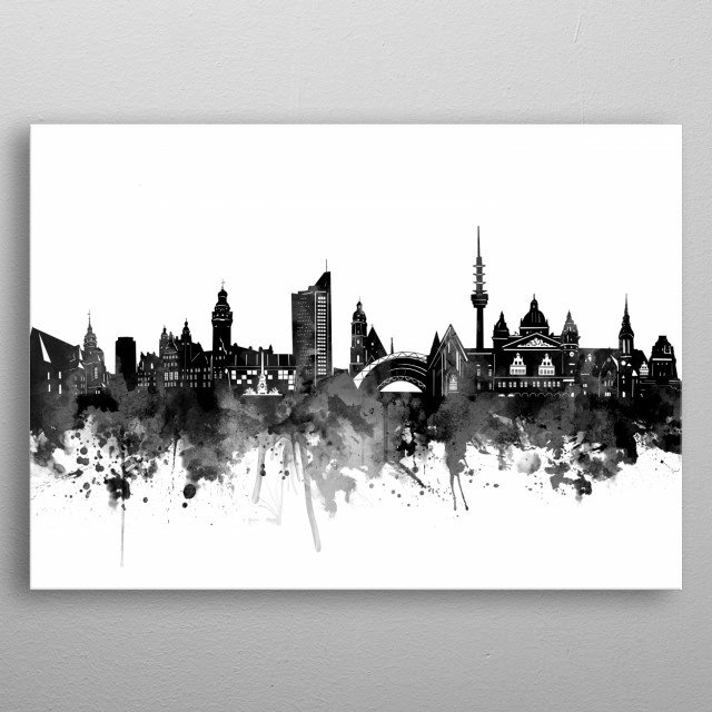 Leipzig inspired by decorative,watercolor,black and white,pop art design metal poster