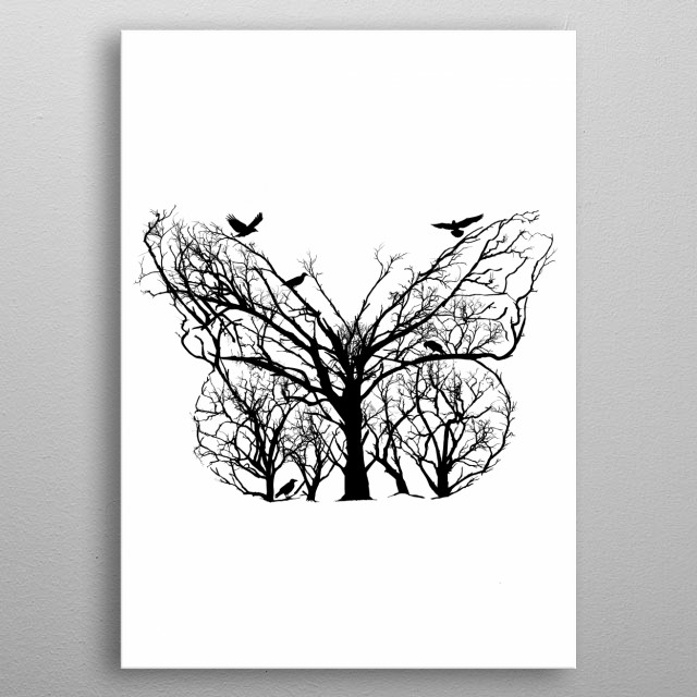 Butterfly from trees of life collection metal poster