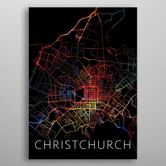 Christchurch New Zealand Watercolor City Street Map Dark Mode metal poster