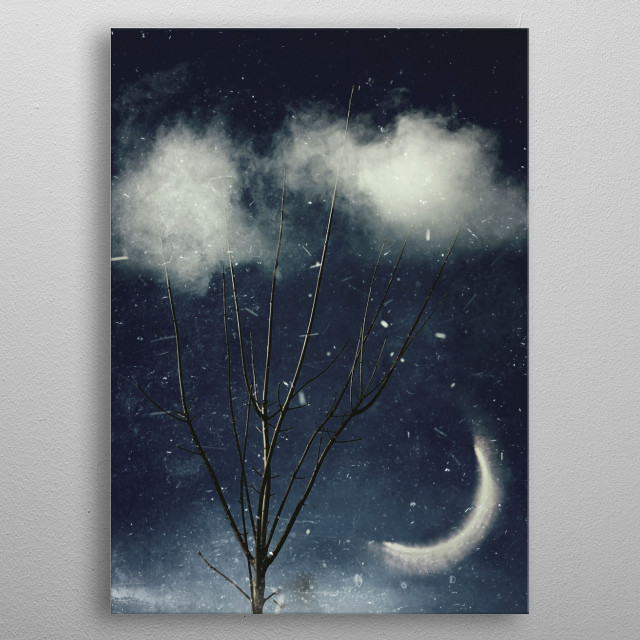 Tree reaching out into clouds - manipulated photography metal poster