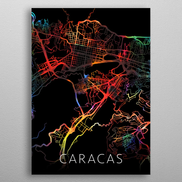 Caracas Venezuela Watercolor City Street Map Dark Mode metal poster