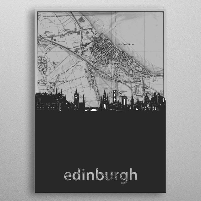 Edinburgh inspired by decorative,grey,cartography,pop art design metal poster