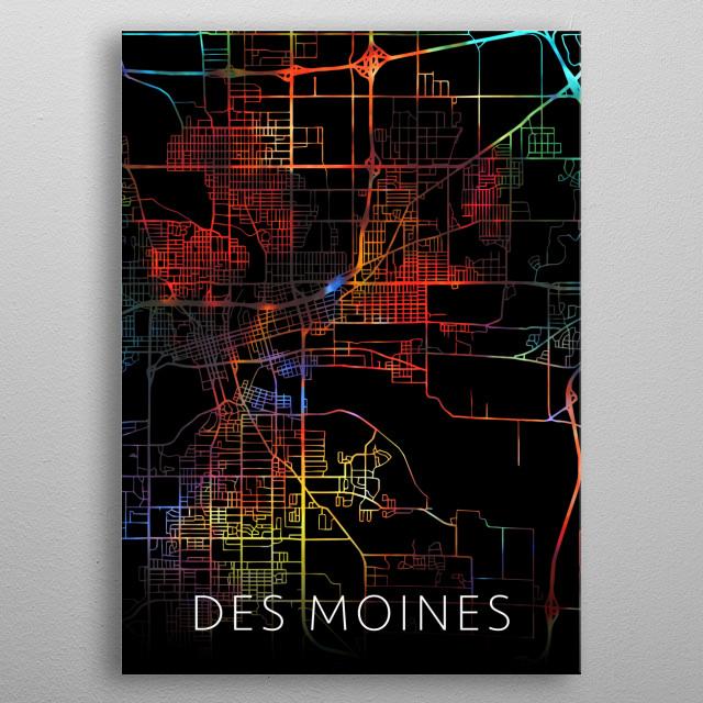Des Moines Iowa Watercolor City Street Map Dark Mode metal poster