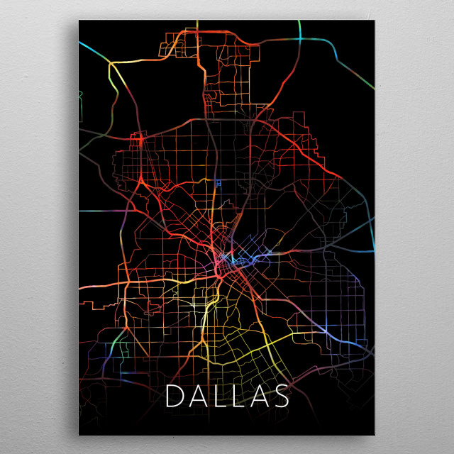 Dallas Texas Watercolor City Street Map Dark Mode metal poster