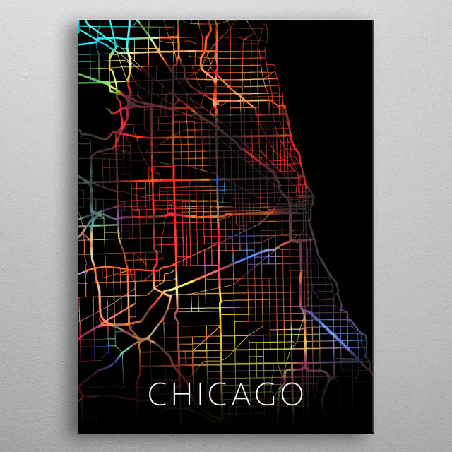 Chicago Illinois Watercolor City Street Map Dark Mode metal poster
