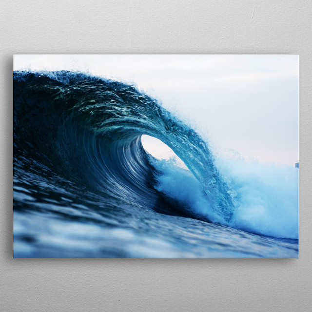 Photography of a beach wave metal poster