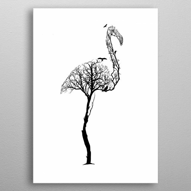 Flamingo from trees of life collection metal poster