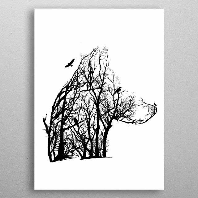 Wolf from trees of life collection metal poster
