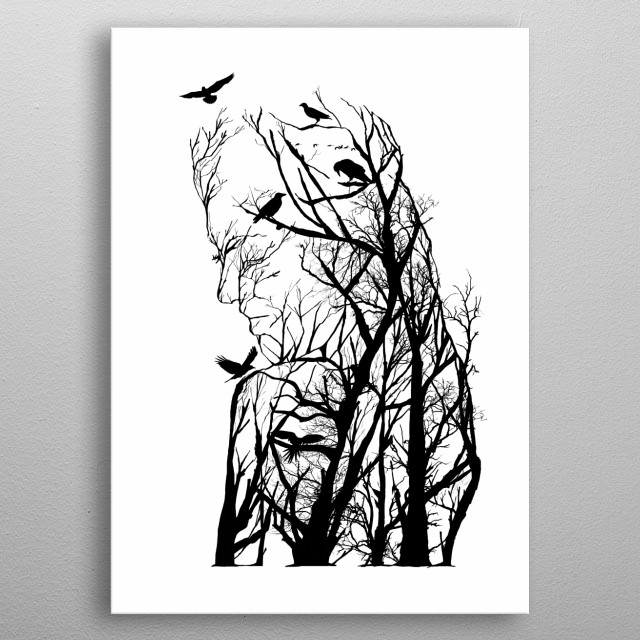 Woman from trees of life collection metal poster