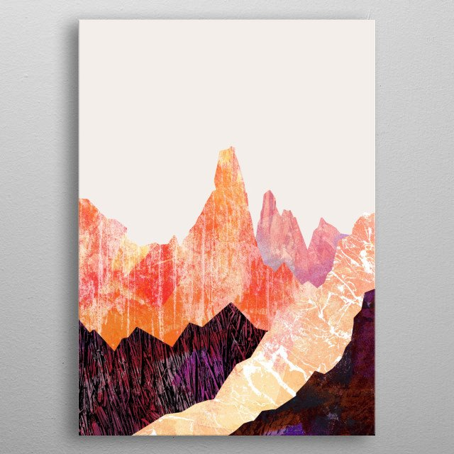 Desert Mountains is a digital textural design by Swade!  metal poster