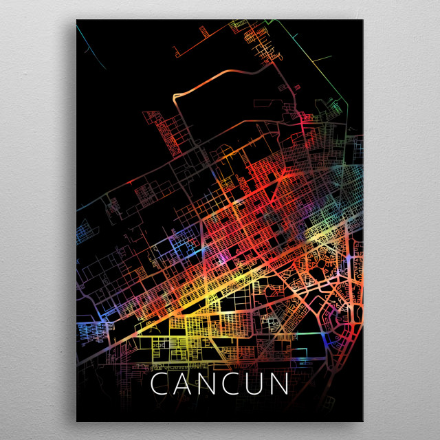 Cancun Mexico Watercolor City Street Map Dark Mode metal poster