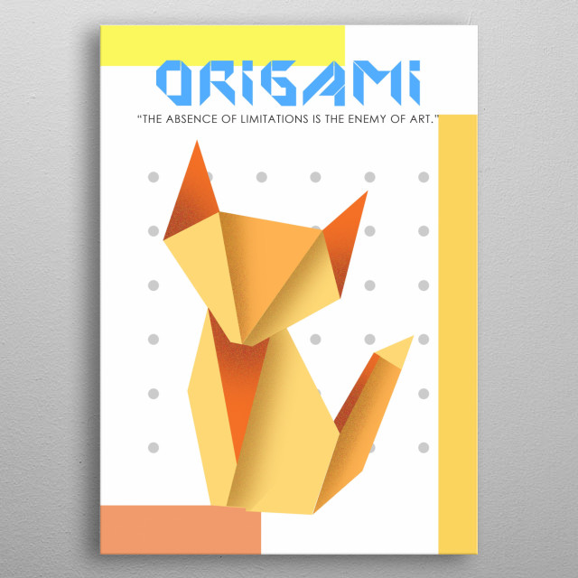 Origami is the art of paper folding, which is often associated with Japanese culture. metal poster