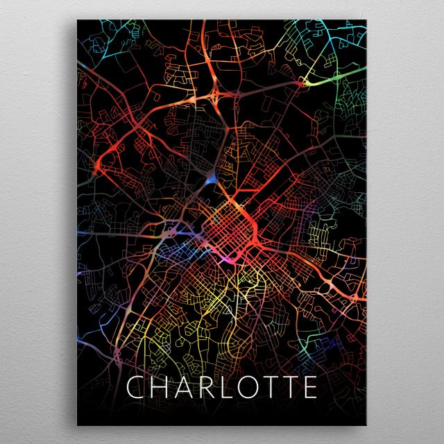 Charlotte North Carolina Watercolor City Street Map Dark Mode metal poster