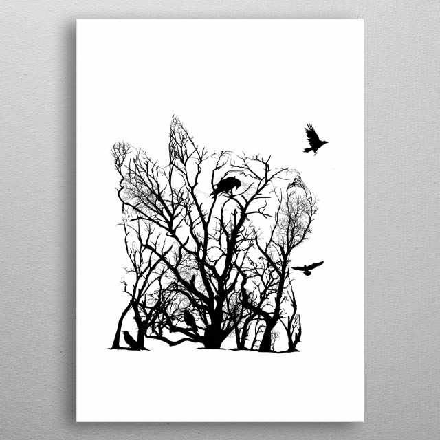 Cat from trees of life collection metal poster