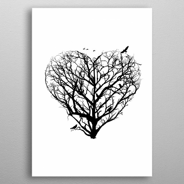 Heart from trees of life collection metal poster
