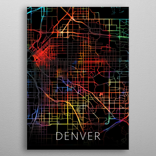 Denver Colorado Watercolor City Street Map Dark Mode metal poster