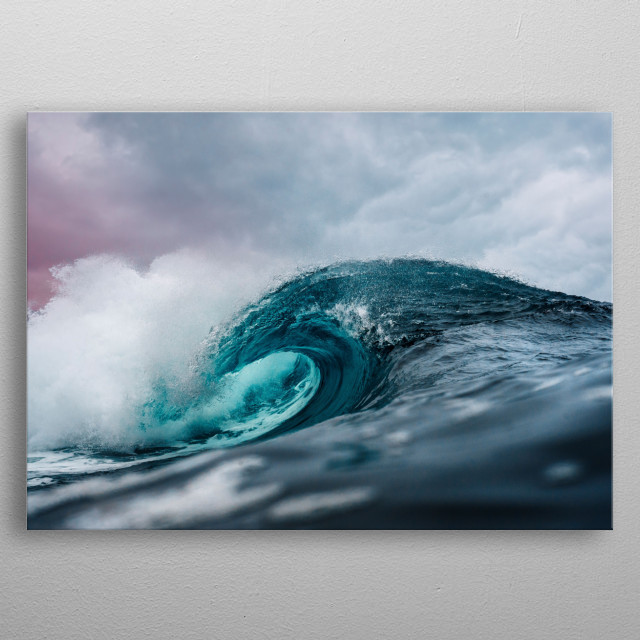 A beautifull picture of a wave in the ocean. metal poster