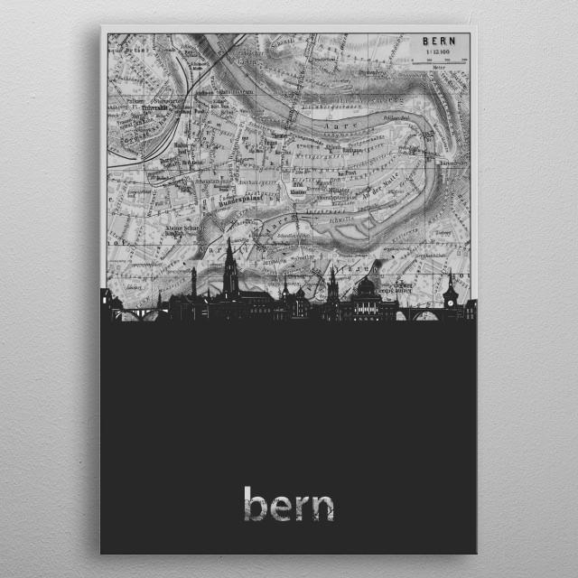 Bern skyline inspired by decorative,grey,cartography,pop art design metal poster