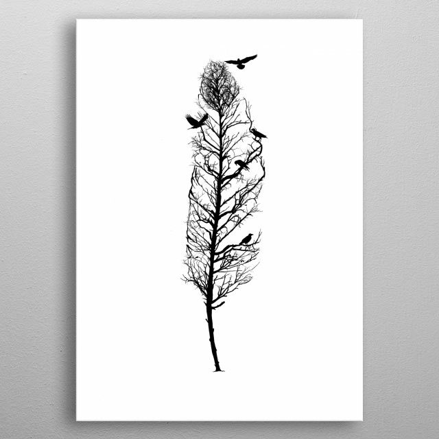 Feather from trees of life collection metal poster