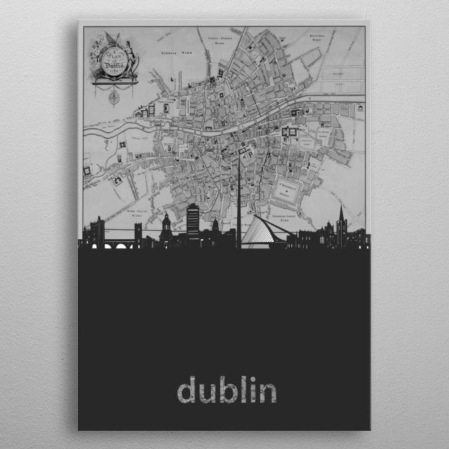 Dublin inspired by decorative,grey,cartography,pop art design metal poster