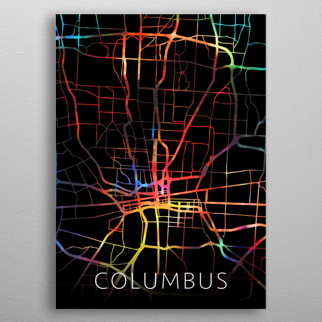 Columbus Ohio Watercolor City Street Map Dark Mode metal poster