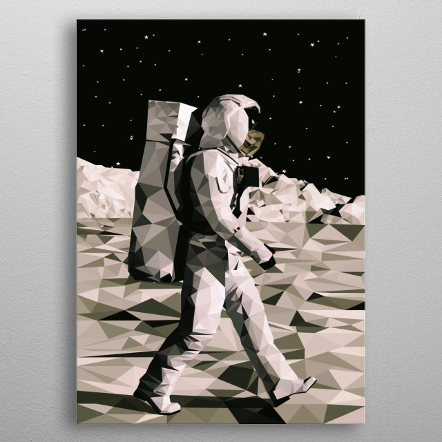 Astronaut walking on the moon illustration in low poly style. metal poster