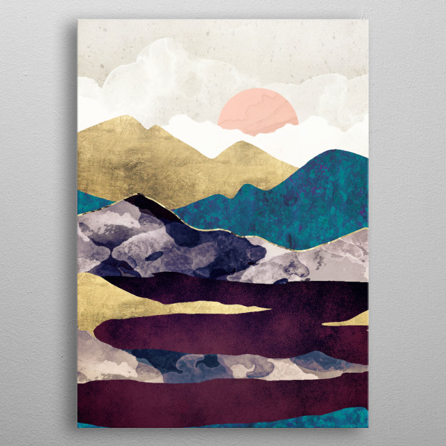 Abstract landscape of a lake with mountains, gold, blue and maroon metal poster